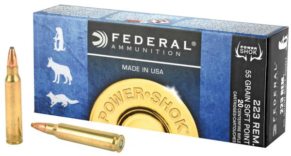Federal Power-Shok 223 Remington 55 GR Soft Point 20 rd