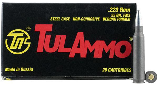Tulammo 5.56 NATO 55 GR FMJ 20 Bx steel case