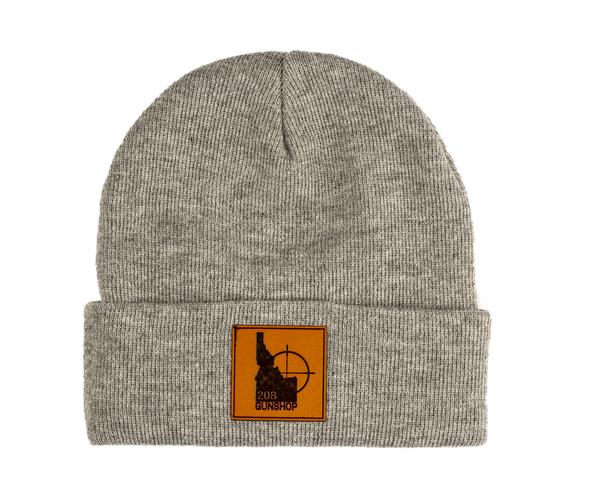 208 gun shop beanie leather patch heather grey