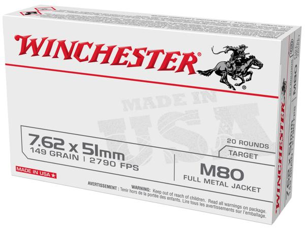 winchester usa 7.62x51 mm 149gr fmj 20rd