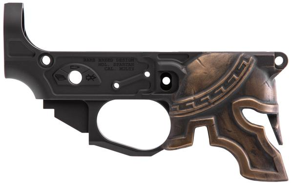 SPIKES TACTICAL AR15 RARE BREED PAINTED SPARTAN HELMET STRIPPED LOWER RECEIVER BRONZE
