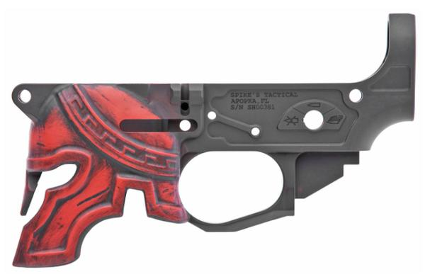 SPIKES TACTICAL AR15 RARE BREED PAINTED SPARTAN HELMET STRIPPED LOWER RECEIVER RED