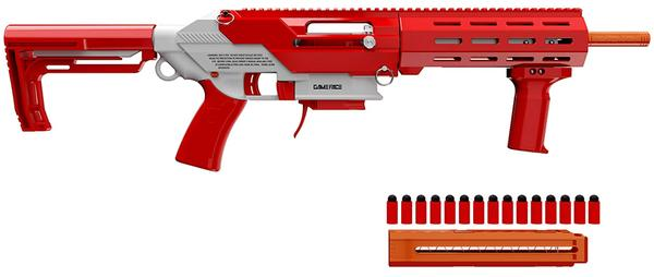 GAME FACE PRIME SPRING-POWERED FOAM DART BLASTER RED